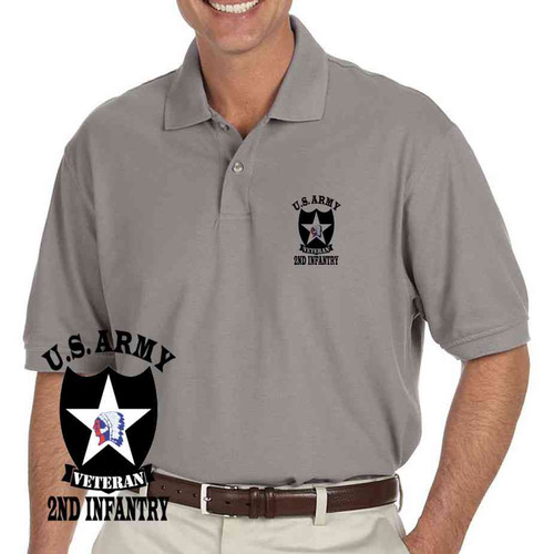 us army 2nd infantry division veteran grey performance polo shirt