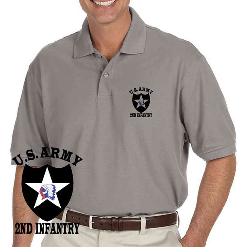 us army 2nd infantry division grey performance polo shirt