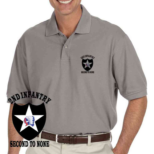 us army 2nd infantry division second to none grey performance polo shirt
