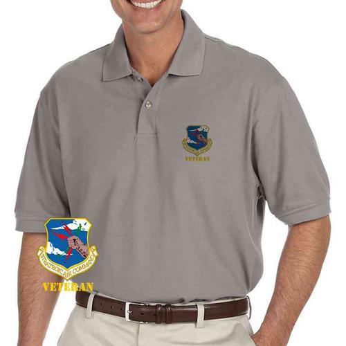 air force strategic air command veteran grey performance polo shirt