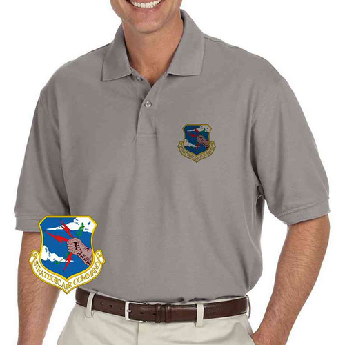 air force strategic air command grey performance polo shirt