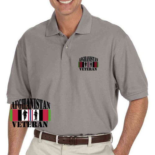 afghanistan vet soldiers grey performance polo shirt