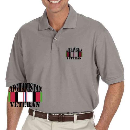 afghanistan vet jets grey performance polo shirt