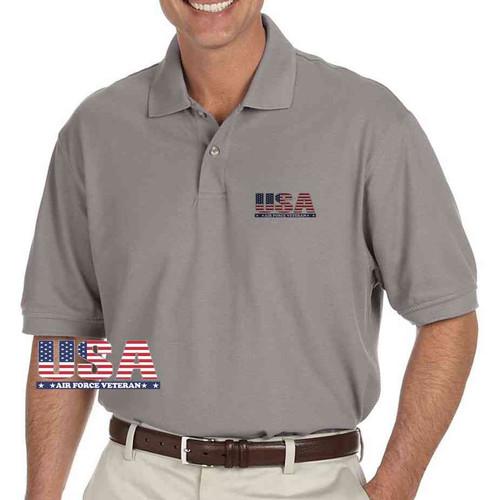 usa air force veteran grey performance polo shirt