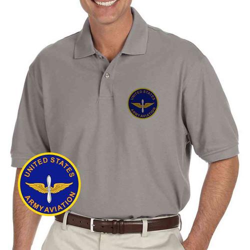 u s army aviation grey performance polo shirt