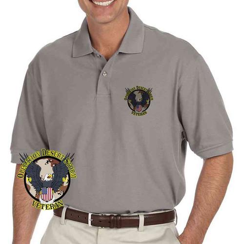 op desert storm veteran eagle shield grey performance polo shirt