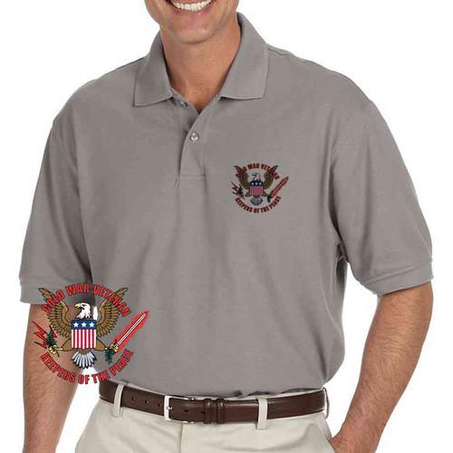 cold war veteran keepers peace grey performance polo shirt