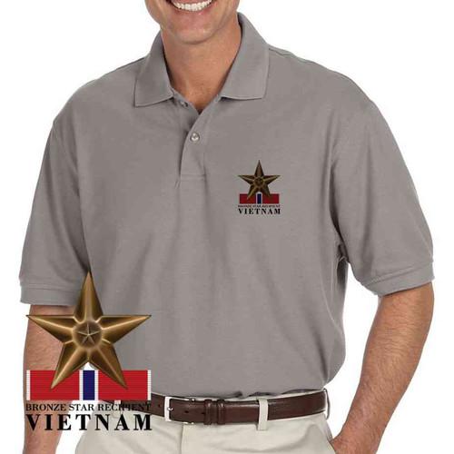 bronze star recipient vietnam grey polo shirt