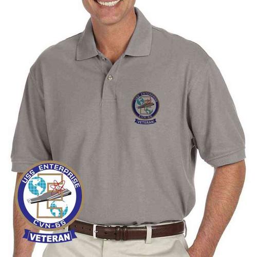navy uss enterprise veteran grey performance polo shirt