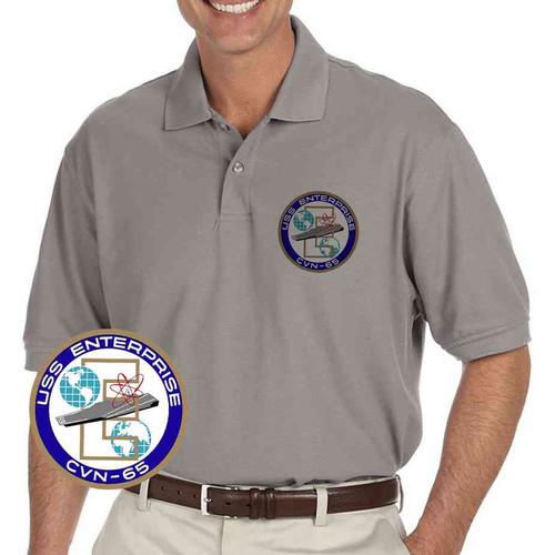 navy uss enterprise grey performance polo shirt