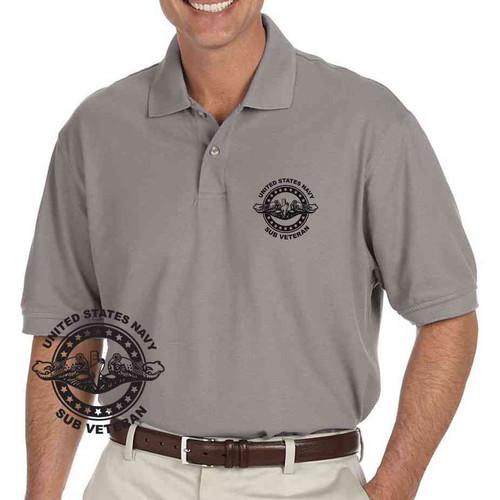 navy submarine badge veteran grey performance polo shirt