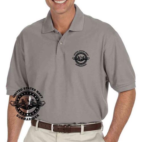 navy submarine badge grey performance polo shirt