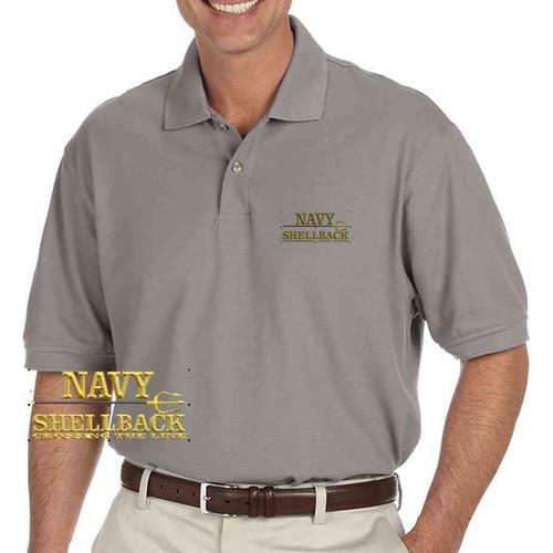 navy shellback crossing line trident grey performance polo shirt