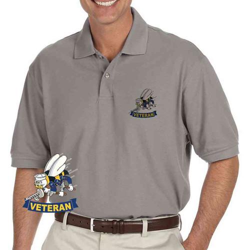 navy seabees veteran grey performance polo shirt