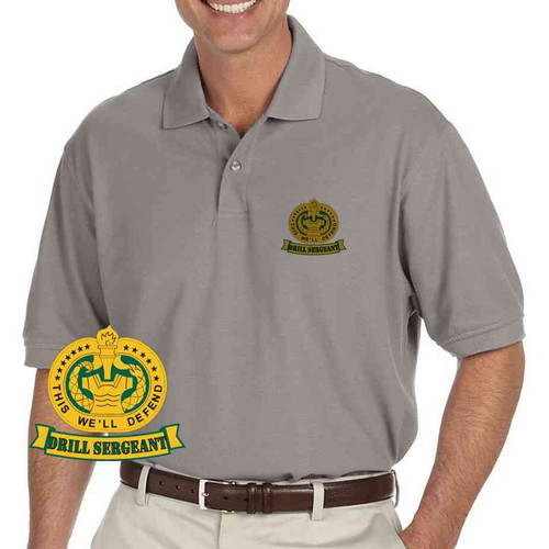 army drill sergeant banner grey performance polo shirt