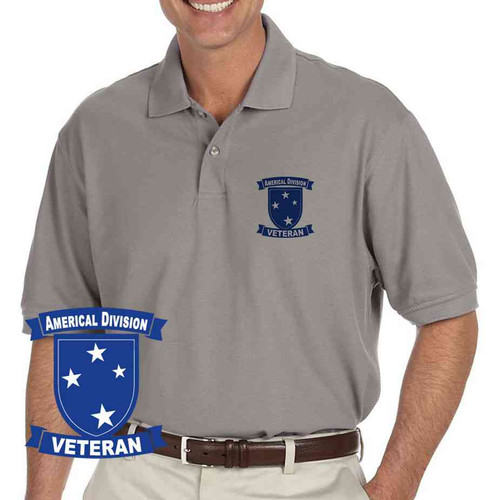 army americal 23rd infantry division veteran grey performance polo shirt
