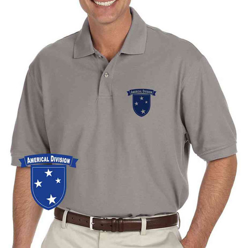 army americal 23rd infantry division grey performance polo shirt