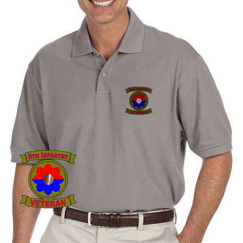 army 9th infantry division veteran grey performance polo shirt