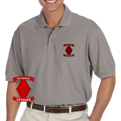 army 5th infantry division veteran grey performance polo shirt