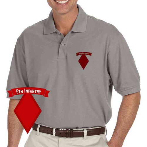 army 5th infantry division grey performance polo shirt