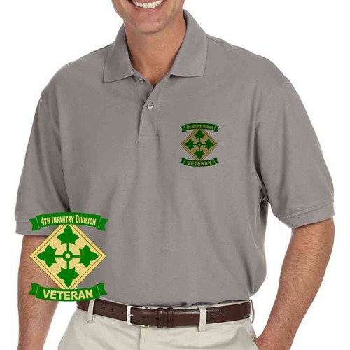 army 4th infantry division veteran grey performance polo shirt