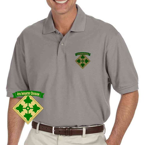 army 4th infantry division grey performance polo shirt