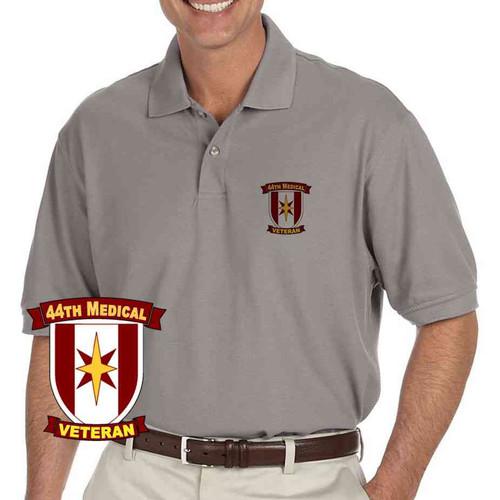 army 44th medical veteran grey performance polo shirt