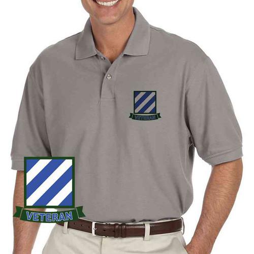 army 3rd infantry veteran grey performance polo shirt