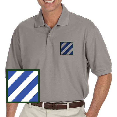 army 3rd infantry grey performance polo shirt