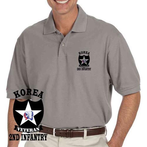 army 2nd infantry division korea veteran grey performance polo shirt