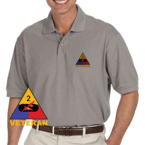 army 2nd armored division veteran grey performance polo shirt