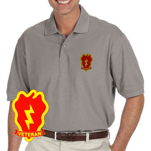 army 25th infantry division veteran grey performance polo shirt