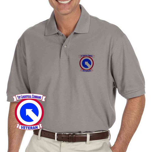 army 1st logistical command veteran grey performance polo shirt