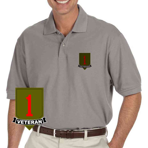 army 1st infantry division veteran grey performance polo shirt