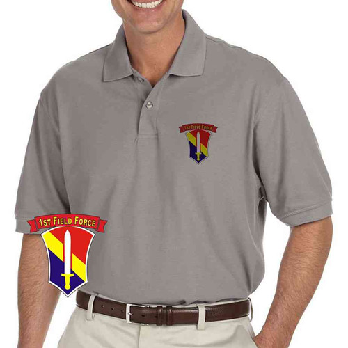 army 1st field force grey performance polo shirt