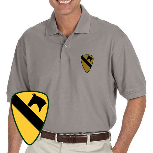 army 1st cavalry division grey performance polo shirt