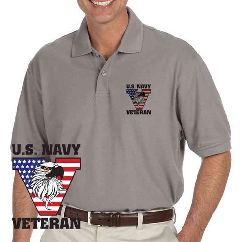 u s navy veteran eagle grey performance polo shirt