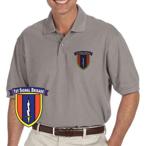army 1st signal brigade grey performance polo shirt