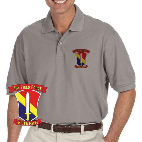 army 1st field force veteran grey performance polo shirt