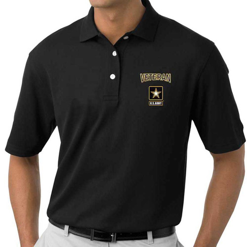 officially licensed us army veteran embroidered polo shirt black