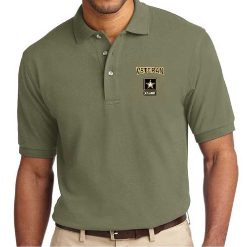 us army veteran embroidered polo shirt star logo officially licensed