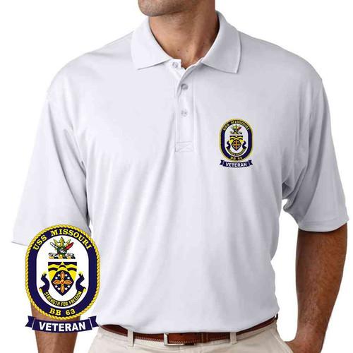uss missouri veteran performance polo shirt