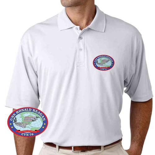 uss ronald reagan performance polo shirt