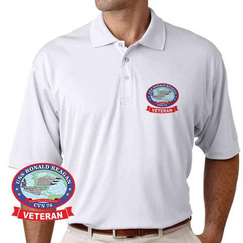 uss ronald reagan veteran performance polo shirt