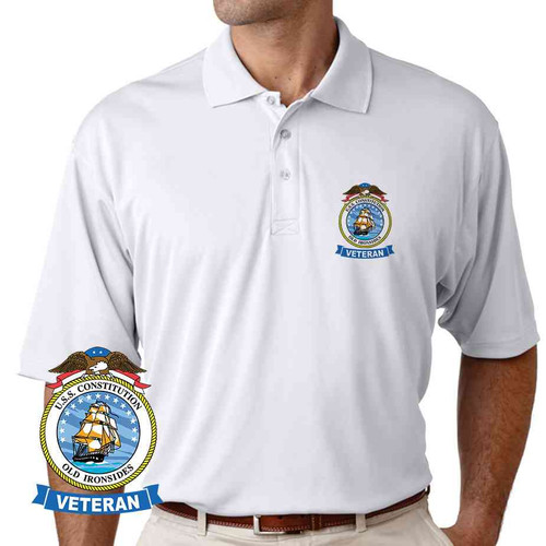 uss constitution veteran performance polo shirt