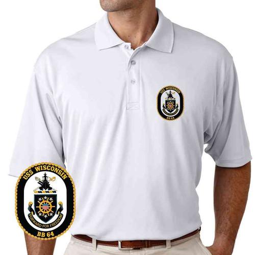 uss wisconsin performance polo shirt