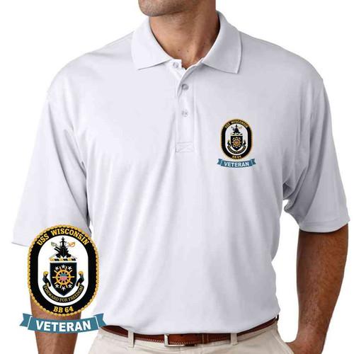 uss wisconsin veteran performance polo shirt