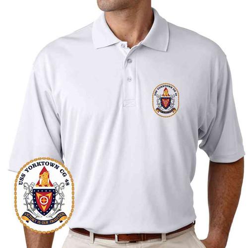 uss yorktown performance polo shirt