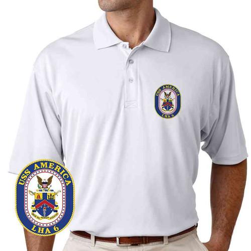 uss america performance polo shirt