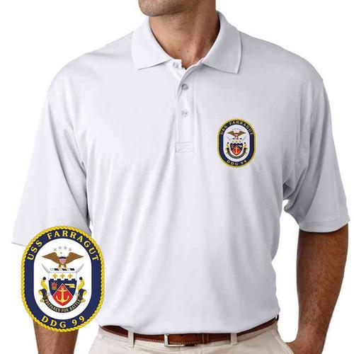 uss farragut performance polo shirt
